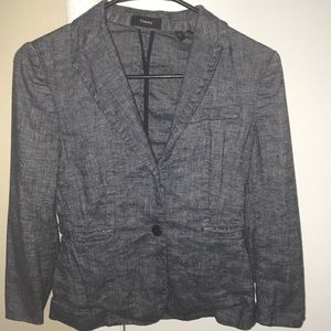 Theory cropped linen/viscose blazer